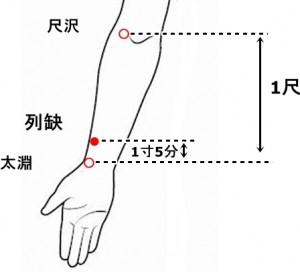 経絡経穴 手の太陰肺経 列缺