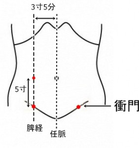 経絡経穴 足の太陰脾経 衝門
